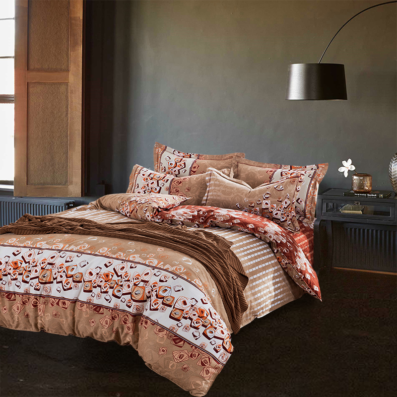 Ethnic style sanded cotton print bedding set for double for Bedroom sets without bed