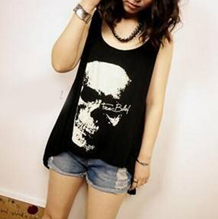 Fashion Tassel Hollow Out Women Tanks Tops/Irregular Skull Printed Tanks For Women/Casual Brand Women Clothing