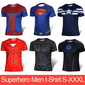 Футболки мужчин супергерой капитан америка, железный человек, супермен, паук, бэтмен с короткими рукавами мужские футболки S-XXXL хлопок топы одежды