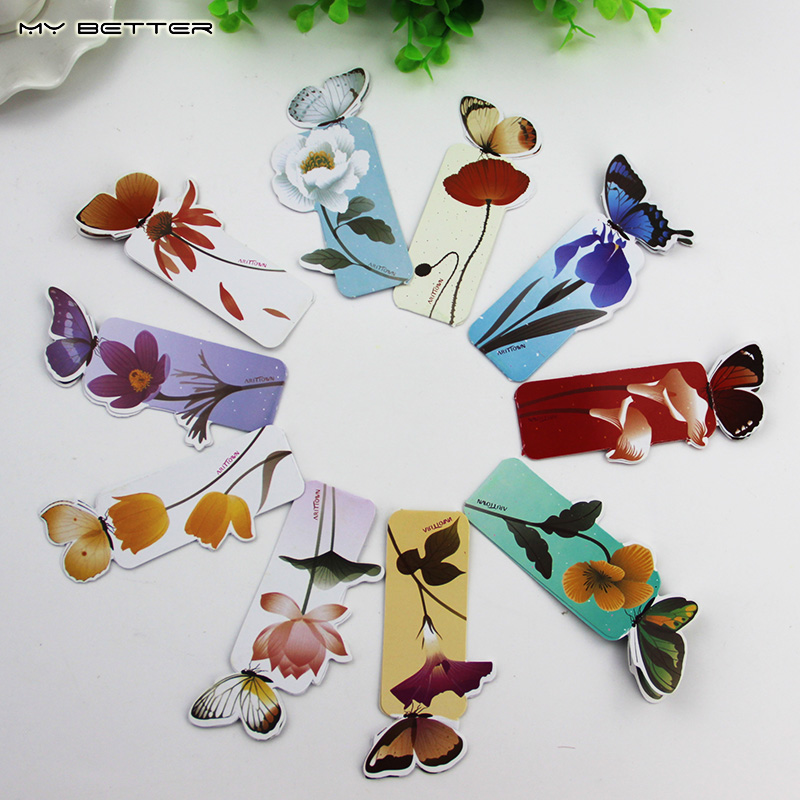 14 PCS Bookmark Butterfly Style Teacher's Gift Book Marker Stationery Gift Realistic Cute Kawaii Cartoon 3d Bookmark(China (Mainland))