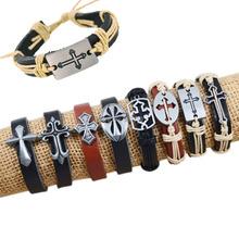 Free Shipping, (8pcs/lot),2013 Fashion Mixed Cross charms tribe Genuine Leather bracelets jewelry bracelet Men & Women bracelet