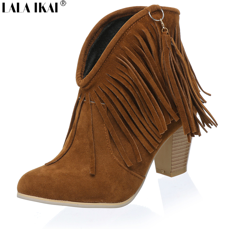 LALA IKAI Size 10 11 12 Women Western Boots Cowboy Boots Suede Fringe Ankle Boots for Women High Heels Shoes Woman XWN0254-5(China (Mainland))