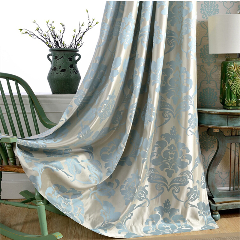 Miss cat floral Jacquard blue window curtains full black out blinds shading decoration drape for livingroom heavy cloth fabric(China (Mainland))