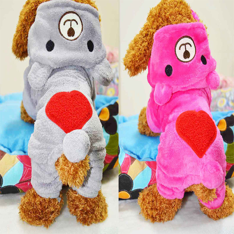 Pet Dog Clothes Warm Fleece Bear Lovely Dogs Pet Soft Jumpsuit Teddy Dog Winter Hoodie Jacket Clothing Puppy Apparel Sweater(China (Mainland))