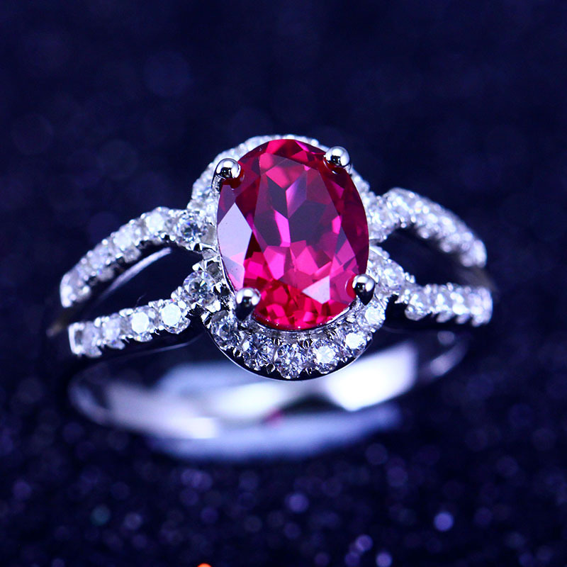 Fashion 925 Sterling Silver Rings Ruby Natural Large Red Corundum Gem Stone Women White Gold Plated Bride Wedding Ring - Fully Trusty Jewelry store
