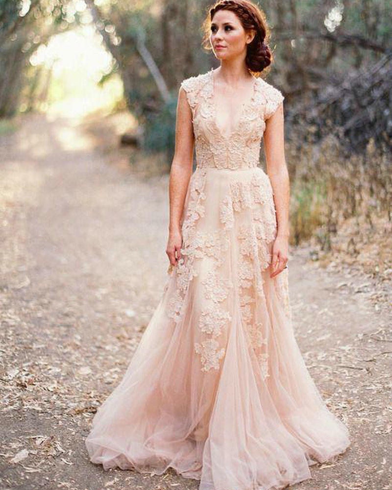 V neck lace wedding dresses 2016 a line bridal gowns for Lace dresses for weddings