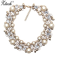 Buy New Fashion Luxury brand Crystal Choker Statement Necklace Chunky collar Necklaces & Pendants women simulated pearl neckalce for $11.99 in AliExpress store
