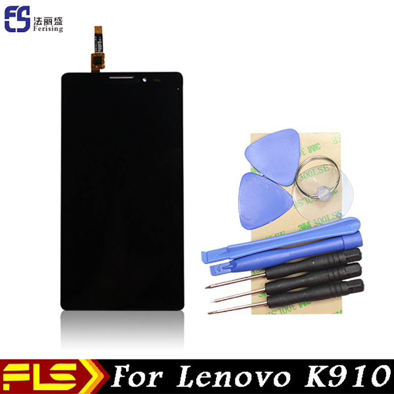 Original LCD Display Touch Screen Panel sensor For Lenovo K910 vibe z Assembly digitizer + free tools + 3M Sticker