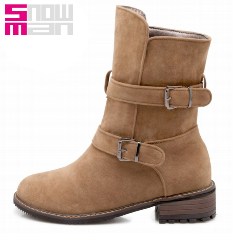 Vintage Buckle Strap Fall Winter Boots Martin Boots Square Heels Women Mid-calf Winter Boots Western Boots Big Size 30-47<br><br>Aliexpress
