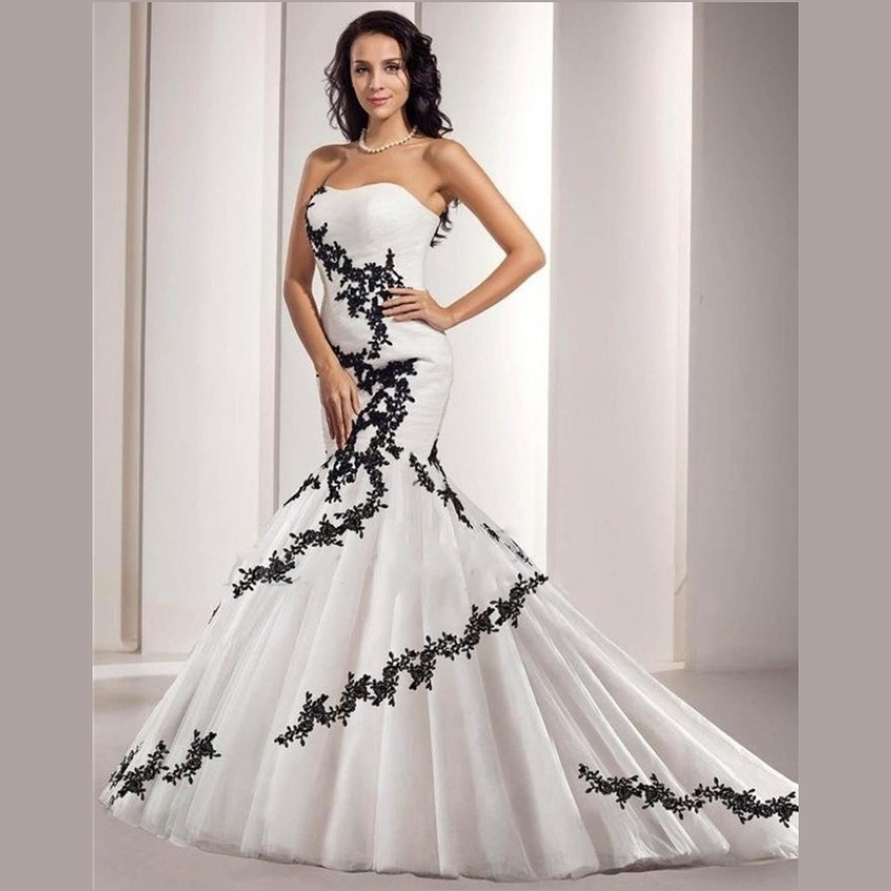 Black And White Mermaid Wedding Gowns : Marvelous black and white wedding dresses lace appliques mermaid dress