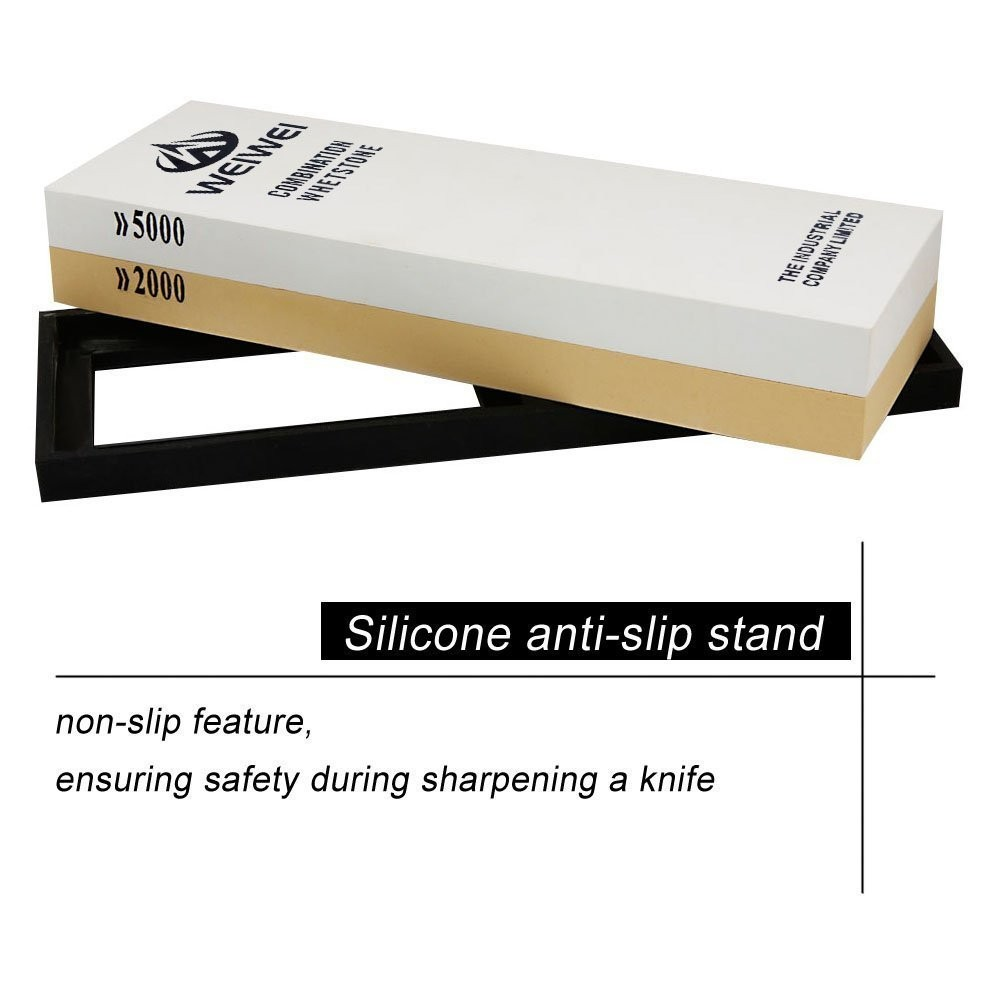 Buy 2000/5000 Grit Dual-sided Knife Sharpening Stone with Waterstone Holder cheap