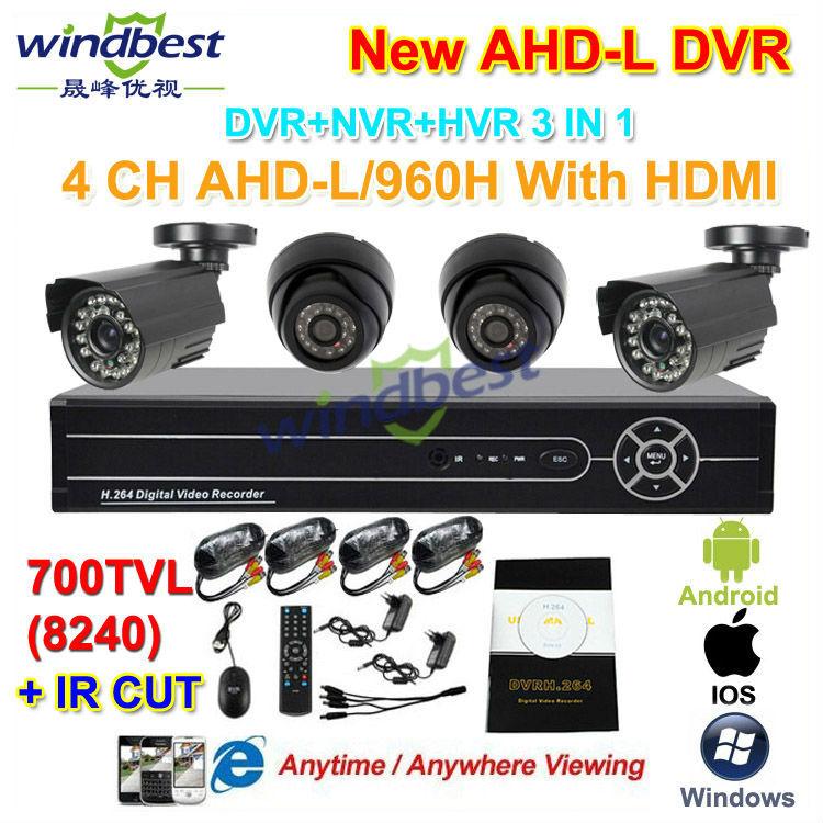 4CH 960H AHD-L HDMI Network DVR 700TVL IR CUT Outdoor Waterproof & Indoor Mini Dome CCTV Camera Security Surveillance Kit System(China (Mainland))