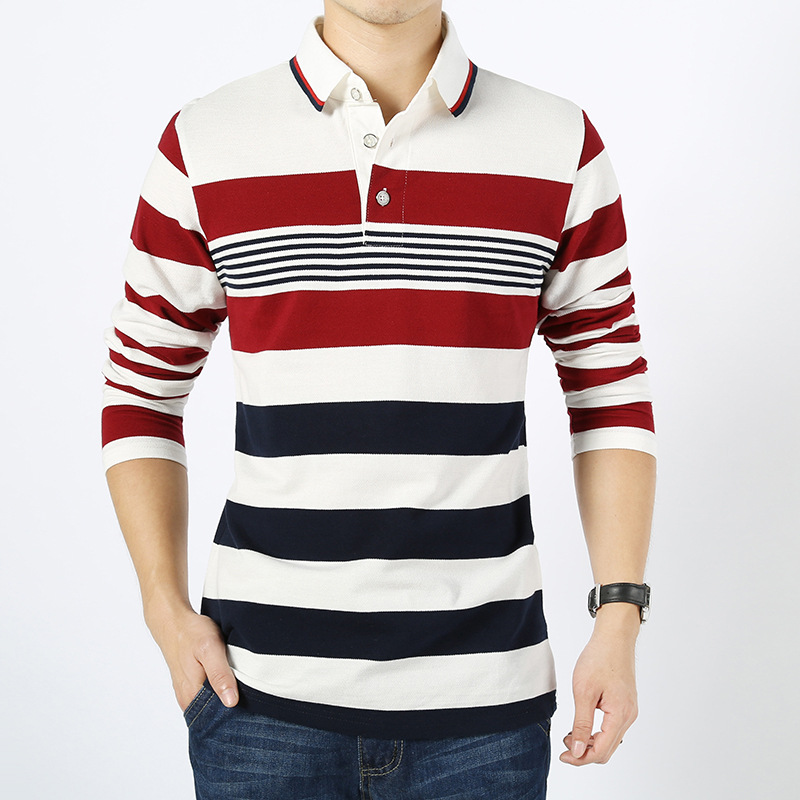 Men england style striped polo shirt 95 cotton long for Longer length mens polo shirts