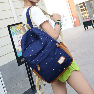 New 2016 casual canvas backpack women fashion school bags for girls dot printing backpack shoulder bags mochila(China (Mainland))