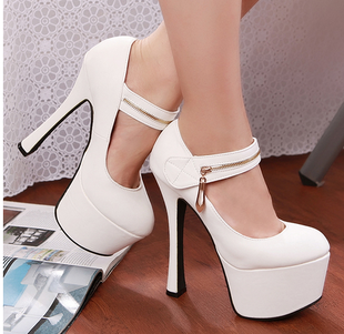 HOT high-heeled shoes 16cm platform single shoes the bride wedding shoes white banquet thick heel formal dress shoes