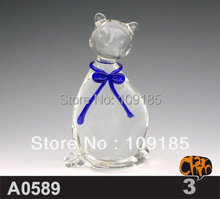 Blown Clear Glass Animal Cat Figurines