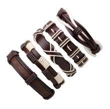 סיטונאי 3-6 יח'\חבילה בעבודת יד אתני שבטי אמיתי לעטוף מקסים זכר pulsera שחור קלוע עור צמידי צמידים(China)