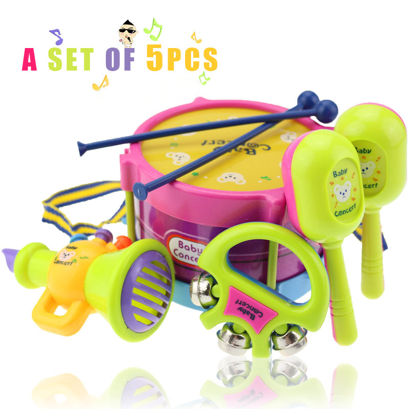 0-3 years old baby toys 5pcs hand drum beat rattles educational toys children rattle for newborn baby(China (Mainland))