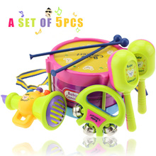 0-3 years old baby toys 5pcs hand drum beat rattles educational toys children rattle for newborn baby