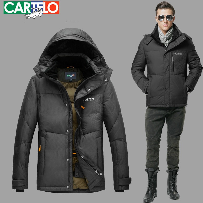 Cartelo Brand Winter Business Thick 90% Duck Down Long Section Jacket Coat For Men S-xxxl With Hood(China (Mainland))