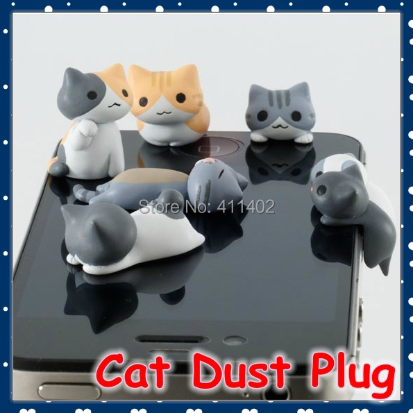 [FORREST SHOP] Mobile Phone Accessories 3.5 MM Cartoon Cat Anti Dust Plug For Iphone 6 / Cell Phone Stopper For Ipad FRC-13(China (Mainland))