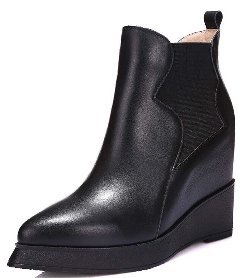Fashion Round Toe Black Motorcycle boots platform Wedges ankle Boots for women Martin shoes snow boots size 34-39
