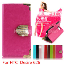 2015 Hot sale Wallet Bling Leather Case For HTC  Desire 626 HTC 626 Phone Bag Rhinestone Flip Cover With Card Slot (xkm)(China (Mainland))