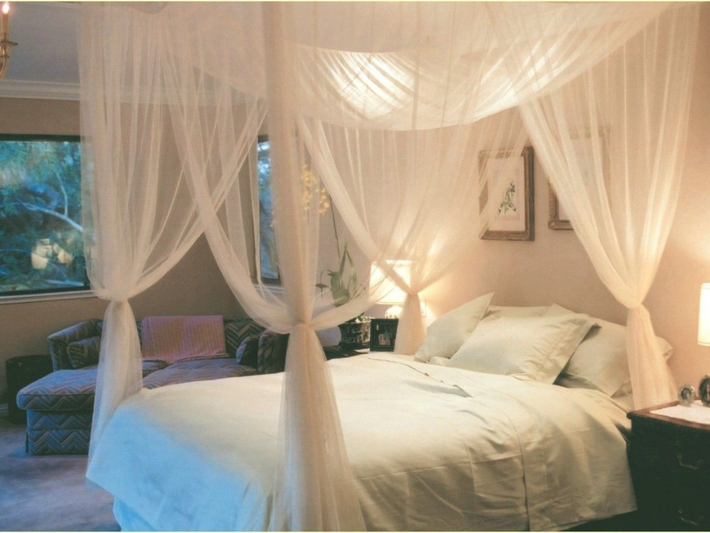 2015 four corner post bed white canopy mosquito net full for Bed decoration with net