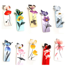 1 Pcs Flower Print Bookmark Stationery Colorful Mini Paper 3D Stereo Butterfly Bookmarks For Girls Women Gifts random color(China (Mainland))