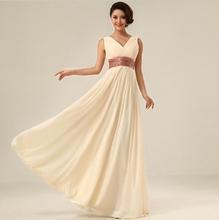 Двойной плечо с v-образным вырезом Simple сплошной длинная вечернее платье шифон вечернее ну вечеринку платье падение
