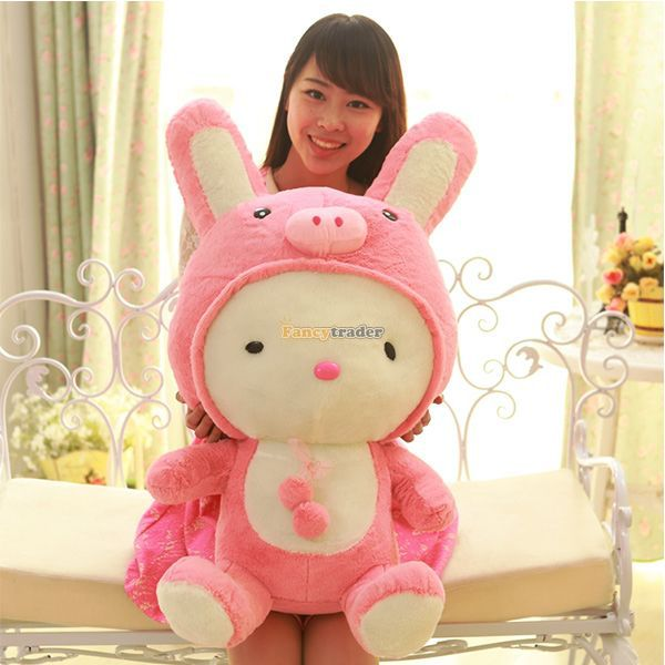 Fancytrader 28'' / 70cm Lovely Soft Giant Plush Cute Stuffed Pig Rabbit Bunny Toy, Nice Baby Gift, Free Shipping FT50796(China (Mainland))