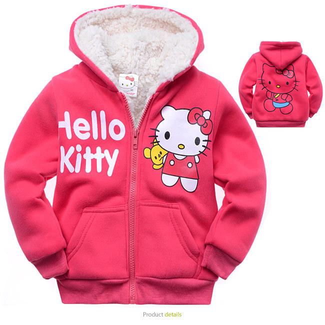 Children outerwear Hello kitty thickening lamb flocking Sweater Fleece hoodies sportswear girls Hooded coat clothes hoody jacket(China (Mainland))