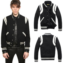 2015 New Spring Hot SL Teddy Varsity Leather Decor Baseball Uniform Slim fit Jackets for Men,Outerwear Coats,Tracksuits M-XXL(China (Mainland))