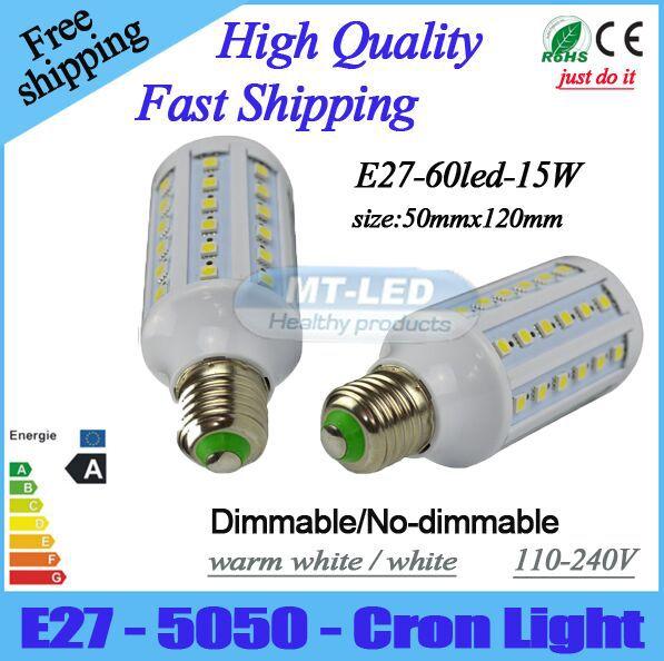 Здесь можно купить  X20pcs Dimmable/No-dimmable Led Corn light E27 E14 B22 SMD 5050 led lamp 110V 220V 15W LED bulb 360 degree 5 years warranty  Свет и освещение