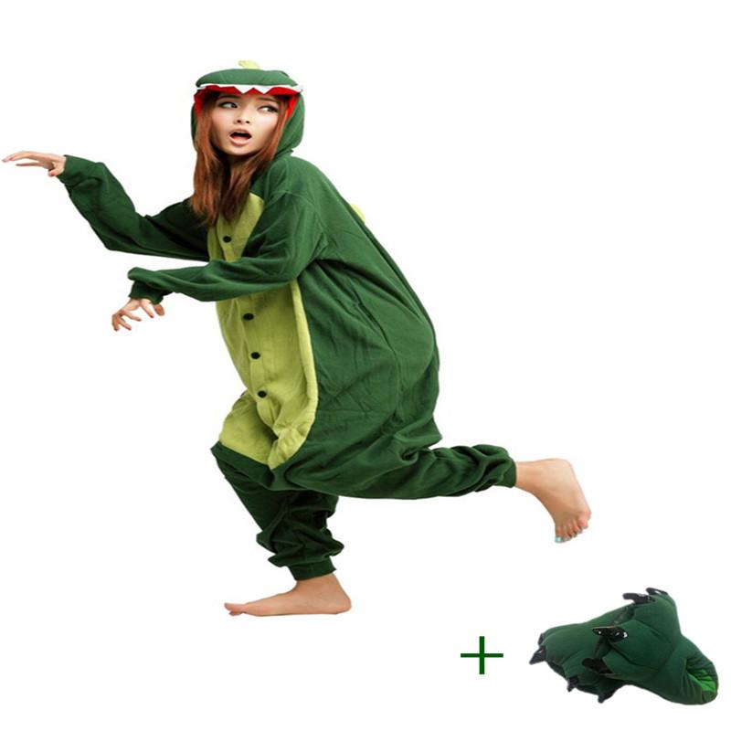New Style Cartoon Green Dinosaur Animal Jumpsuits Gentle Indoor Floor Shoes Adult Onesies Novel Party Pajamas Winter Racksuits(China (Mainland))