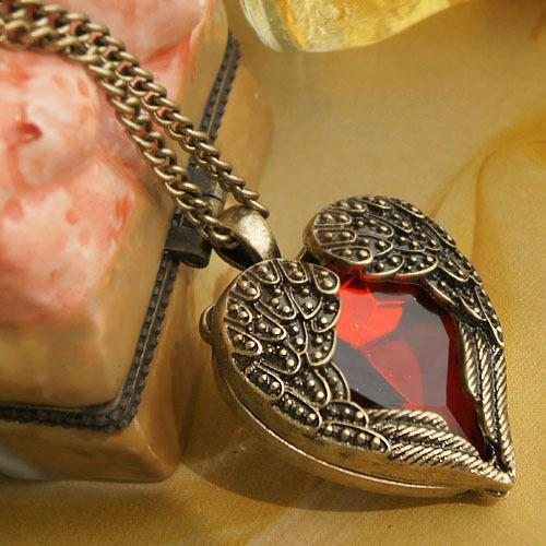 Sunshine vintage royal red rhinestone heart wings necklaces & pendants