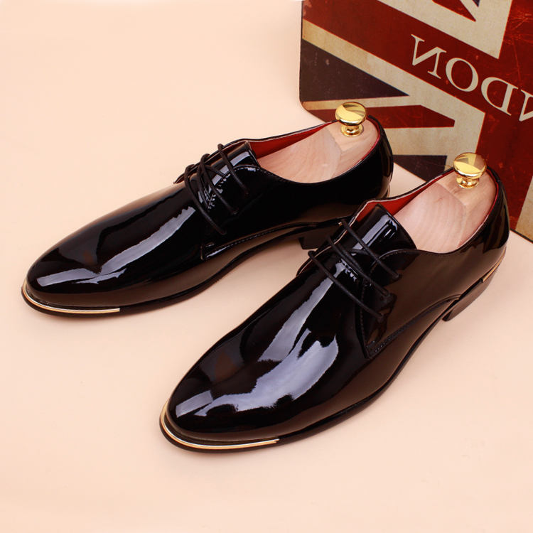Autumn and winter plus velvet thermal pointed toe leather patent leather genuine leather mens casual fashion trend of the<br><br>Aliexpress