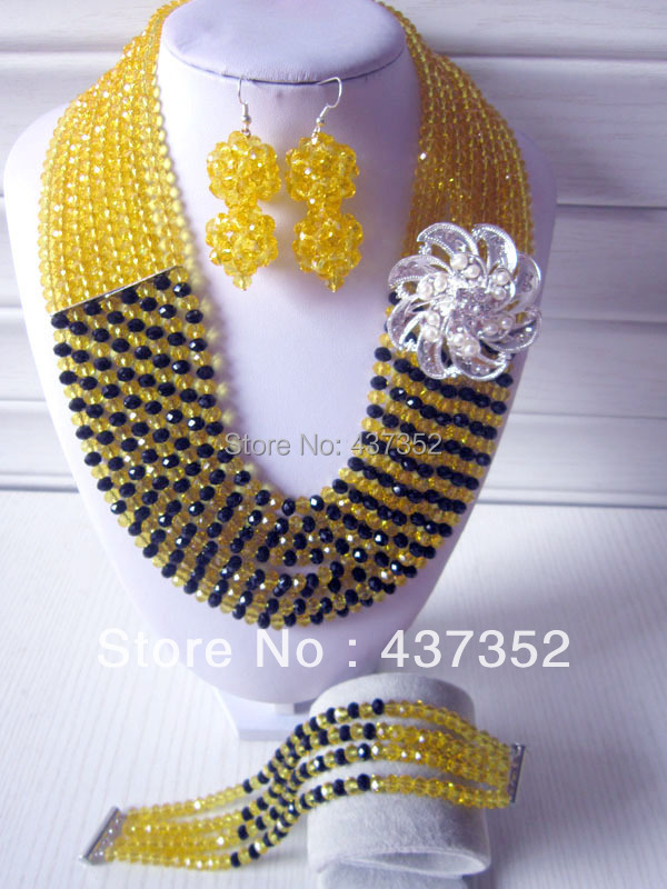 Fashion Nigerian Wedding African Beads Jewelry set Yellow Black Crystal Necklace Bracelet Earrings Jewelry Set CPS-253<br><br>Aliexpress