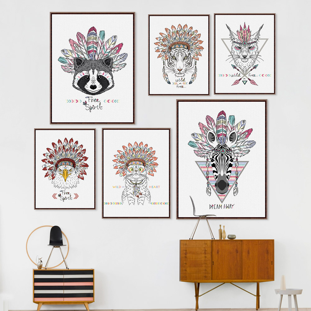 Indian Animals Head Hippie Fashion Deer Horse Zebra A4 Large Art Print Poster Wall Pictures Canvas Painting No Framed Home Decor(China (Mainland))