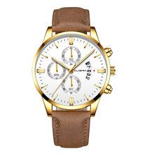 2019 relogio masculino montres hommes mode Sport boîte en acier inoxydable en cuir bande montre Quartz affaires montre-bracelet reloj hombre(China)