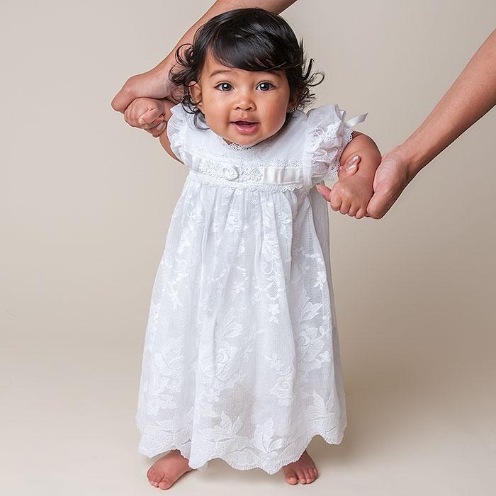 ZQ-1 baby girl white christening dress Puff Sleeve long baptism dress cheap christening dresses 1 year birthday dress Robe robe(China (Mainland))