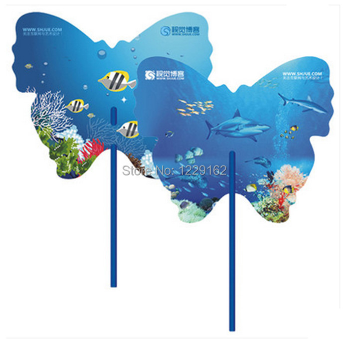 Customized logo printing 1000pcs/lot Advertising plastic hand fan for promotion Cute cool PP hand fan for gift(China (Mainland))