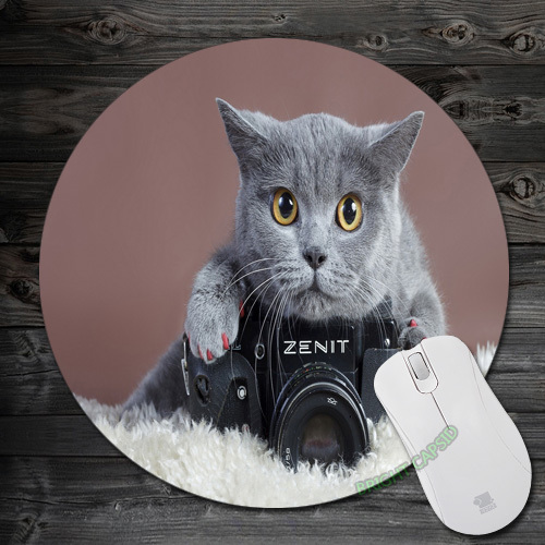 Custom Gray cat with a Zenit Camera Art Design Pads Anti-Slip Silicone Round Comfort Mousepad Mice Mats Mouse Mat for Optical(China (Mainland))