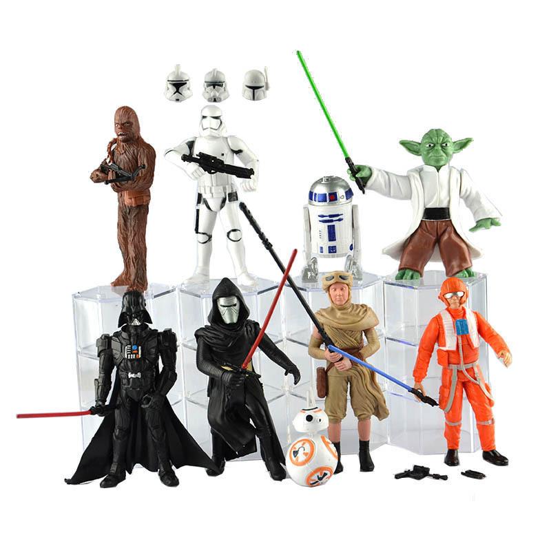 9pcs/lot Star Wars Darth Maul Darth Vader Master Yoda Doll Luke Skywalker Stormtrooper Action Figure Model Kids Toys