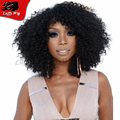 Indian Virgin Hair Curly Bob Wigs Glueless Afro Kinky Curly Full Lace Wigs For Black Woman