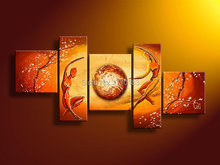 power of love! 5 panels modern abstract home decoration canvas figures oil painting yellow hand made sofa wall picture t5p97 (China (Mainland))