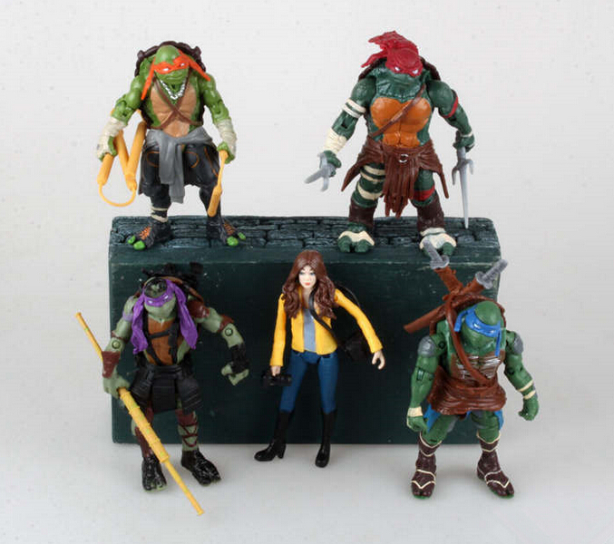 5pcs/set Movie Teenage Mutant Ninja Turtles April PVC Action Figures Collection Model Toys Free Shipping(China (Mainland))
