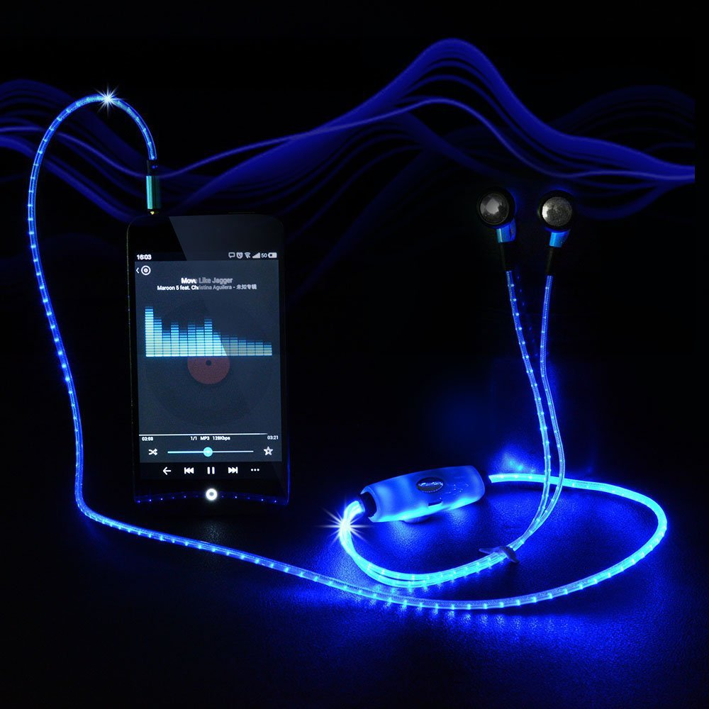 Visible Flowing LED Flashing Light Glow Sport Stereo In ear Headphone Headset Earbud Earphone with Mic