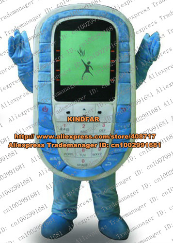 Faddish Blue Cell phone Mobile Phone Cellphone Handset Mascot Costume With Green Viewing Screen Blues Thin Legs No.4478 FS(China (Mainland))