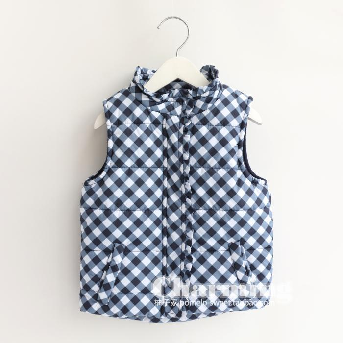 Girls Winter waistcoat baby thick quilted vest coat children Blue grid waistcoat wholesale<br><br>Aliexpress